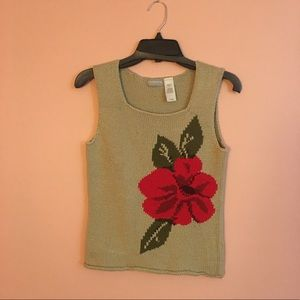 Vintage 90s Cotton Knit Square Neck Tank